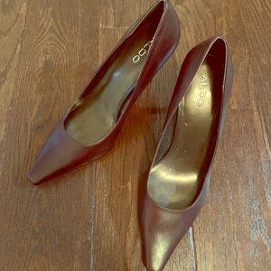 Brown pointed heels